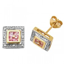 Diamond And Pink Sapphire Square Square Stud Earrings