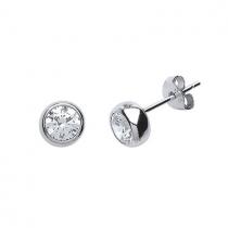 Stunning Sterling Silver Diamond Flash Cubic Zirconia Stud Earrings