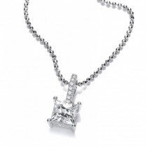 Silver Swarovski Zirconia Square Stone Pendant And Necklace