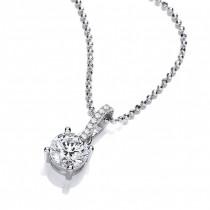 Silver Swarovski Crystal Zirconia Round Stone Pendant And Necklace