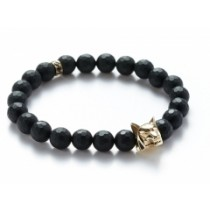 FACETED ONYX/GOLD WOLF BRACELET