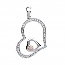 Silver Sapphire Glass Heart Pendant