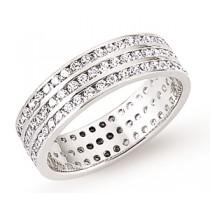 Silver Three Row Full Eternity Ring