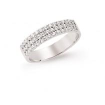 Silver Cubic Zirconia Set Three Row Half Eternity Ring