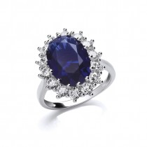 Silver Sapphire Cluster Ring