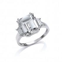 Silver Cubic Zirconia Set Emerald Cut Ring