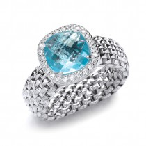 Silver Blue Topaz Stretchy Ring