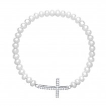 Fresh Water Pearl Cross Bracelet