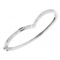 Silver Wishbone Crystal Bangle