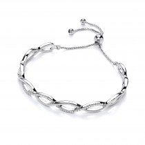 Fancy Silver Twist Crystal Bracelet