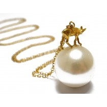 Tiny Deer on Large pearl long necklace silver or goldplated by flowerie88