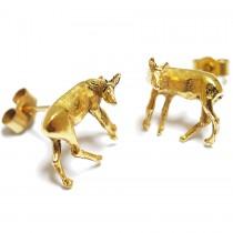 Tiny Deer studs Earrings silver or goldplated by flowerie88