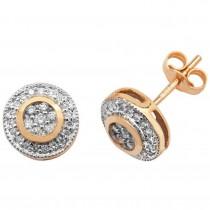 9ct Yellow Gold 0.25ct Diamond Fancy Flower Pattern Stud Earrings