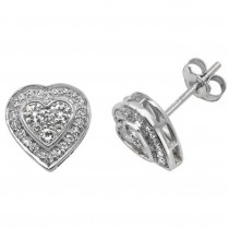 9ct White Gold Half Carat Diamond Set Heart Pattern Stud Earrings