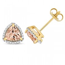 DIAMOND AND MORGANITE TRILLION STUDS