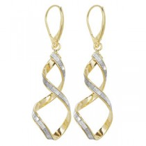 Stunning Yellow Gold Crystal Twist Earrings