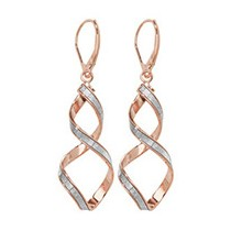 Stunning Rose Gold Crystal Twist Earrings