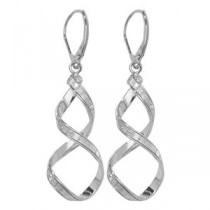 Stunning White Gold Crystal Twist Earrings