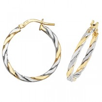 9ct Bio Gold Twist Hoop Earrings