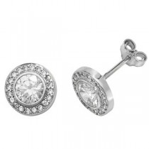 9ct White Gold Crystal Earrings