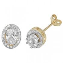 9ct Gold Crystal Stud Earrings