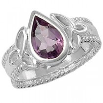 Celtic Silver PEar Cut Amethyst Ring
