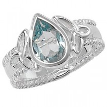 CELTIC SILVER PEAR CUT BLUE TOPAZ  RING