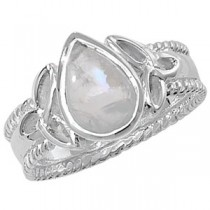 CELTIC SILVER PEAR CUT MOONSTONE TRINITY KNOT RING