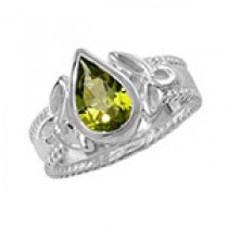 CELTIC SILVER PEAR CUT PERIDOT RING
