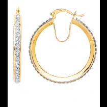 9ct Yellow Gold C/Z Hoop Earrings