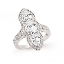 Silver Cubic Zirconia Tripple Stone Marquise Fashion Ring-N