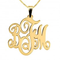 24k Gold Plated Monogram Necklace
