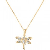 Stunning 9ct Gold Dragonfly Pendant & Nekclace
