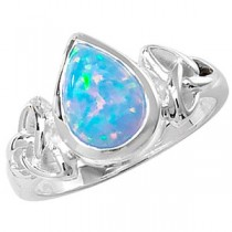 CELTIC SILVER PEAR CUT OPAL RING