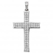 9ct White Gold 0.25ct Diamond Pave Set Cross Pendant