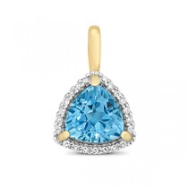 DIAMOND AND LIGHT SWISS BLUE TOPAZ PENDANT