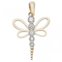 9ct Gold & Crystal Dragonfly Pendant