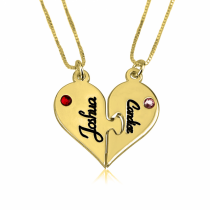 24k Gold Plated Breakable Heart Couple Necklace Set