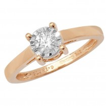 9ct Yellow Gold 0.27ct Diamond Illusion Solitaire Ring