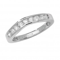 9ct White Gold Half Carat Diamond Channel Set Wishbone Ring