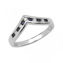 DIAMOND AND SAPPHIRE WISHBONE RING