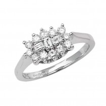 9ct White Gold Half Carat Round And Baguette Diamond Cluster Ring