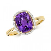 9ct Gold Diamond And Amethyst Ring