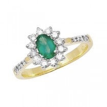 9ct Emerald And Diamond Cluster Ring