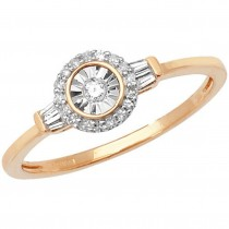 9ct Yellow Gold 0.14ct Diamond Ring With Baguette Shoulders