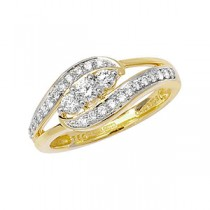 DIAMOND TRIPPLE STONE TWIST RING