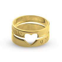 Couple Rings With Cut Out Heart in Gold Plating