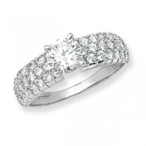 9ct White Gold Zirconia Crystal Ring