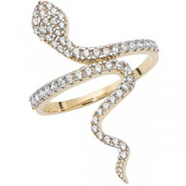 9ct Gold Crystal Snake Ring