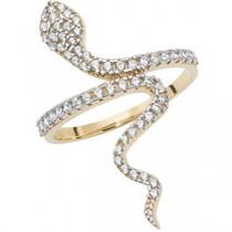 9ct Gold Crystal Snake Ring